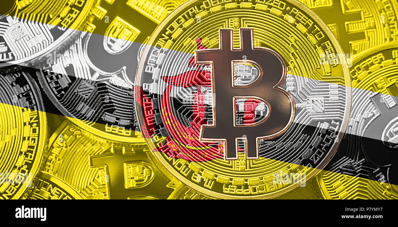 Stack of Bitcoin Brunei flag. Bitcoin cryptocurrencies concept. BTC background. - Stock Image