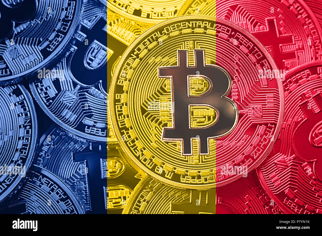 Stack of Bitcoin Chad flag. Bitcoin cryptocurrencies concept. BTC background. - Stock Image
