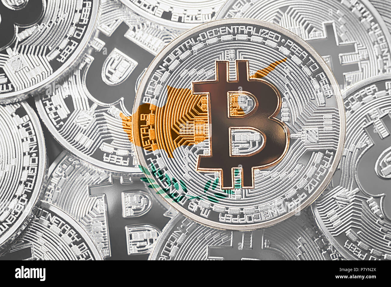 Stack of Bitcoin Cyprus flag. Bitcoin cryptocurrencies concept. BTC background. - Stock Image