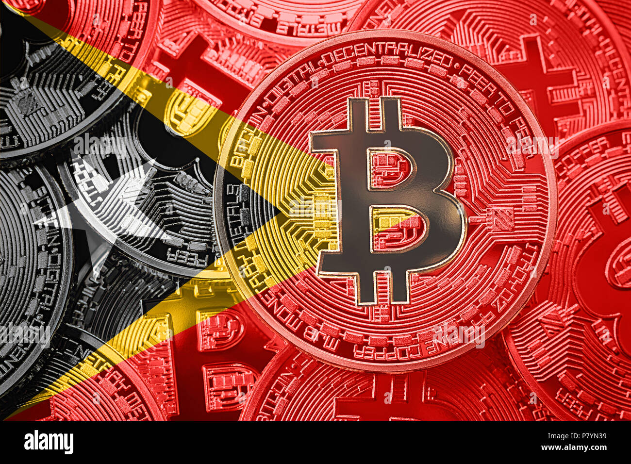 Stack of Bitcoin East Timor flag. Bitcoin cryptocurrencies concept. BTC background. - Stock Image