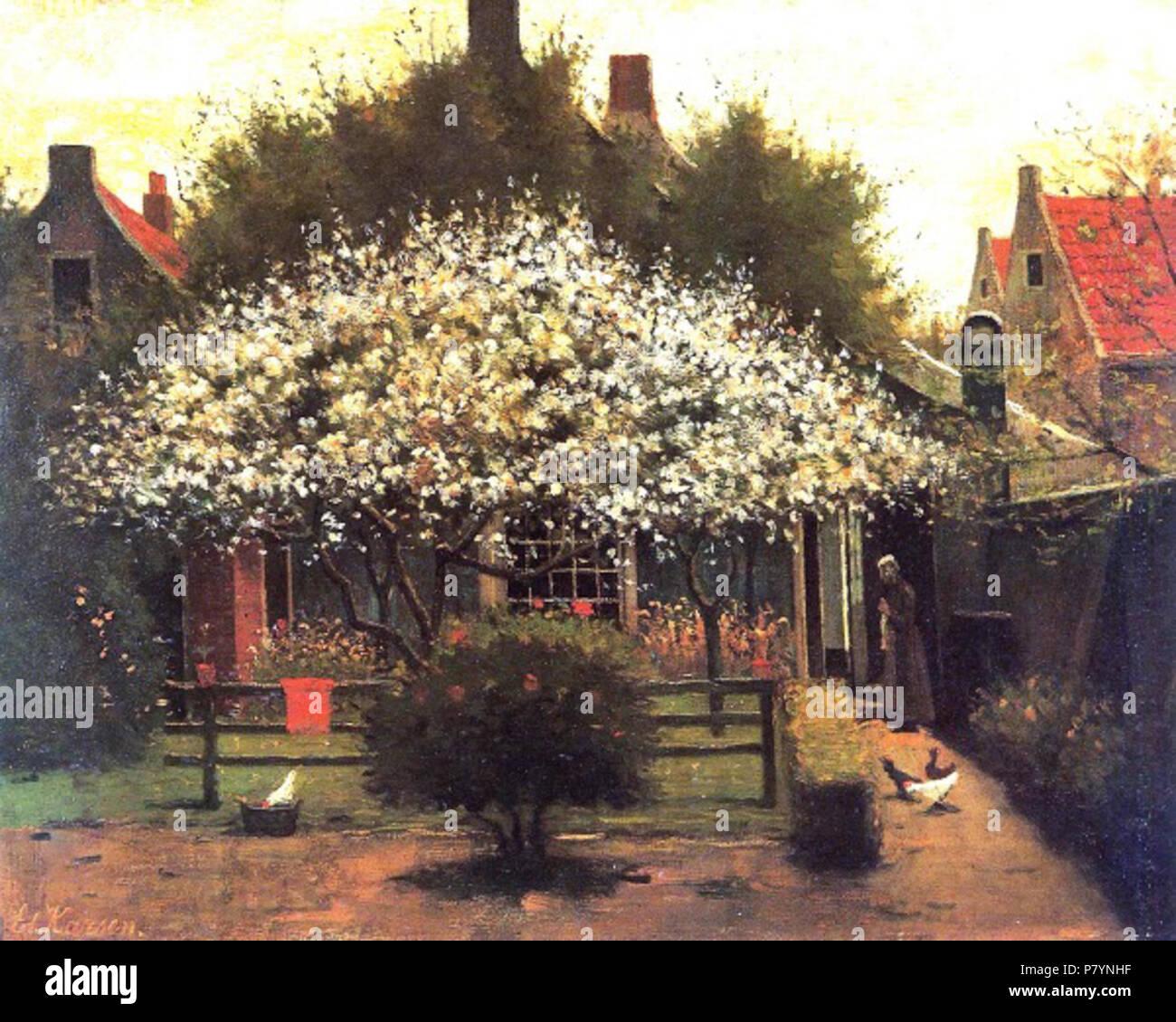Verrassend English: Tuin met bloeiende fruitbomen . circa 1900 228 Karsen KQ-01