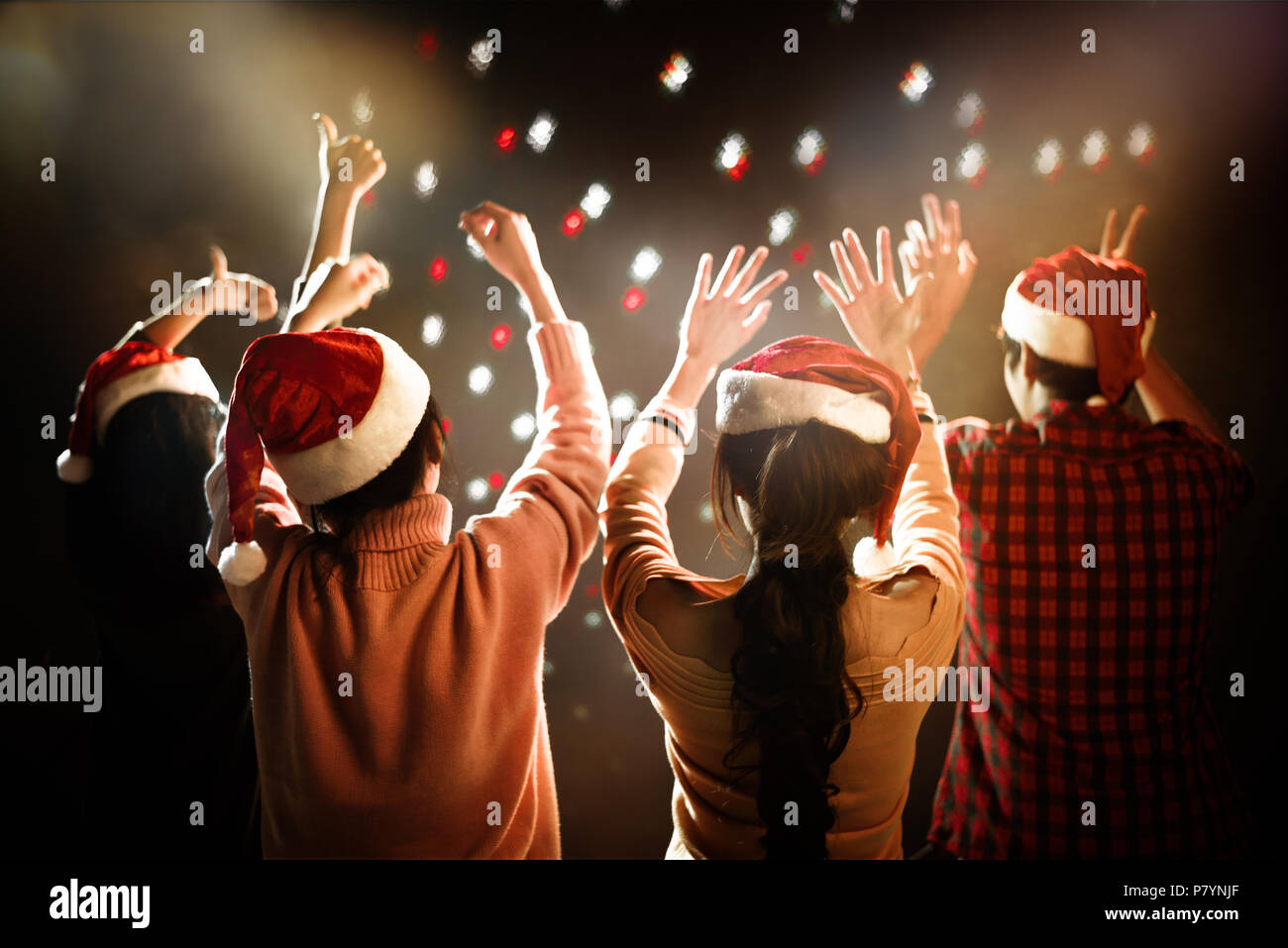 christmas and new year party celebration people and holiday concept dancing and celebrate theme