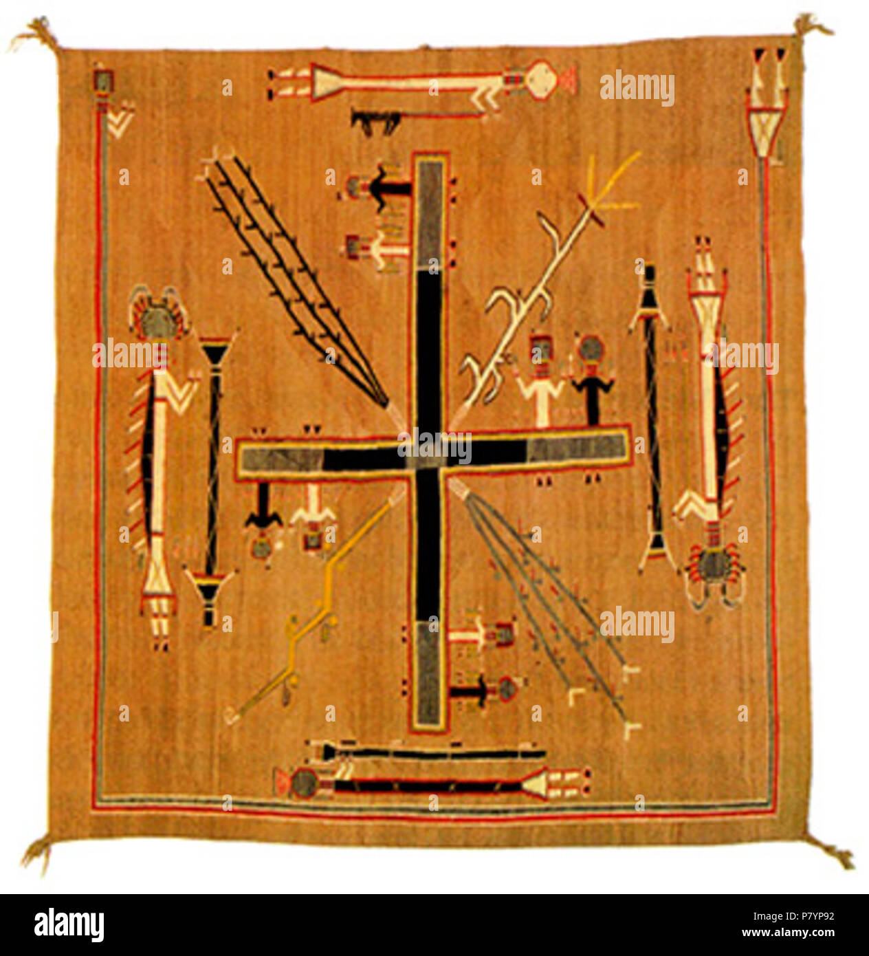 English: Navavo weaving made by Hosteen Klah (1867–1937). Collections of Wheelwright Museum, Santa Fe NM. Not on public display (2017) . circa 1925 231 Klah rug - Stock Image
