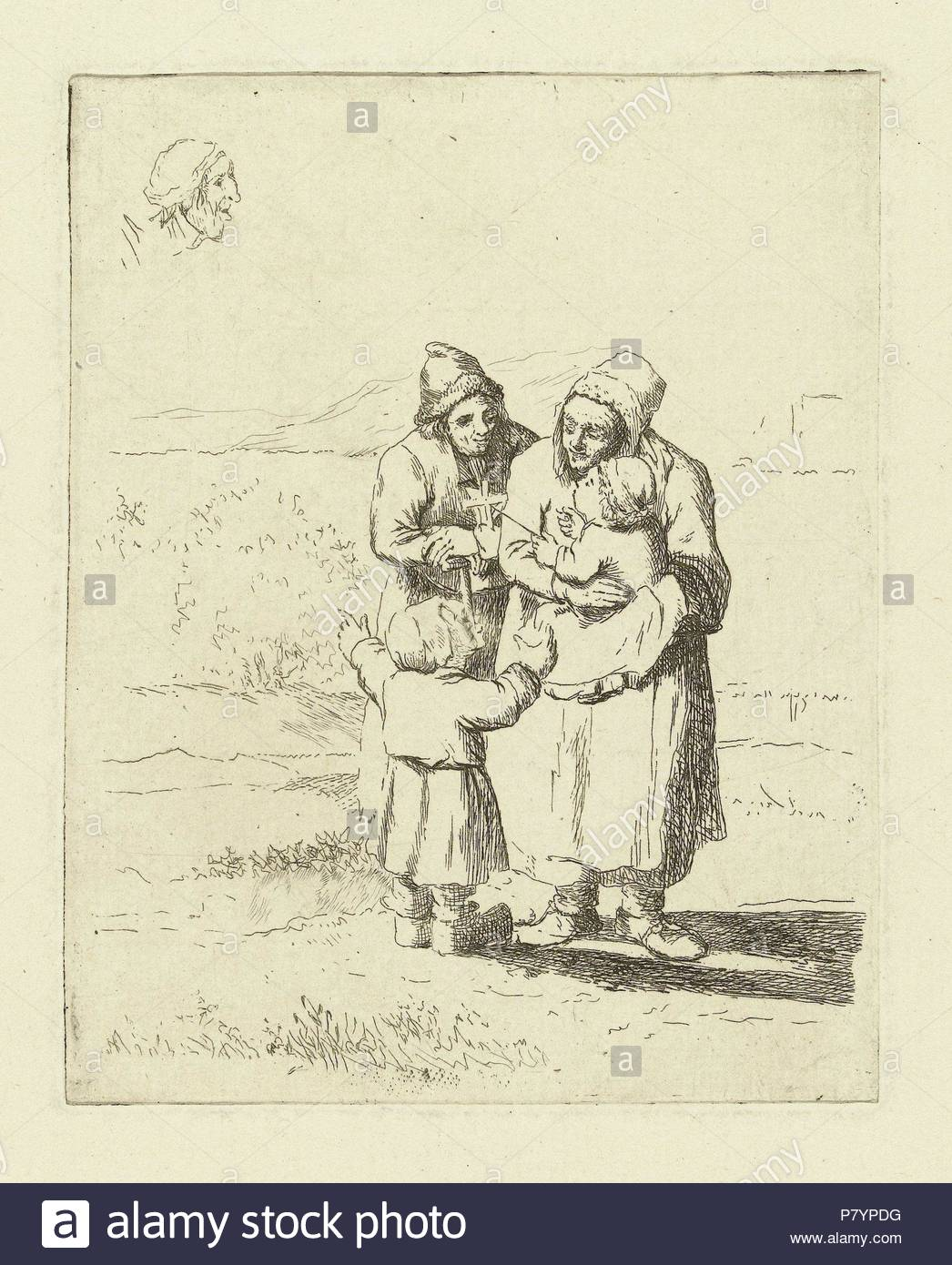 Study Sheet with family with two children, print maker: Marie Lambertine Coclers, 1776 - 1815. - Stock Image
