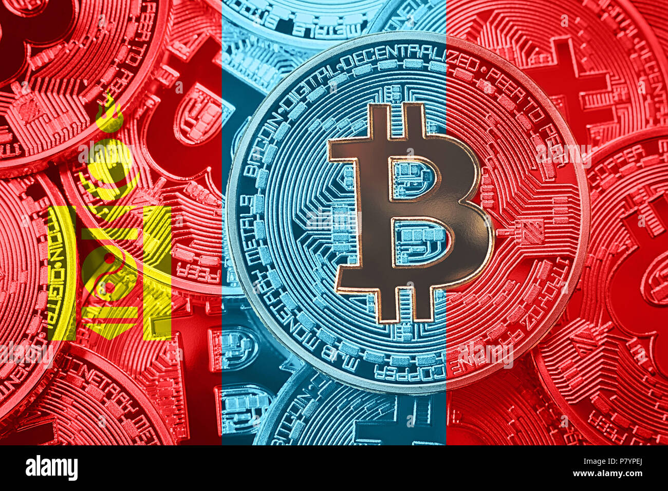 Stack of Bitcoin Mongolia flag. Bitcoin cryptocurrencies concept. BTC background. - Stock Image