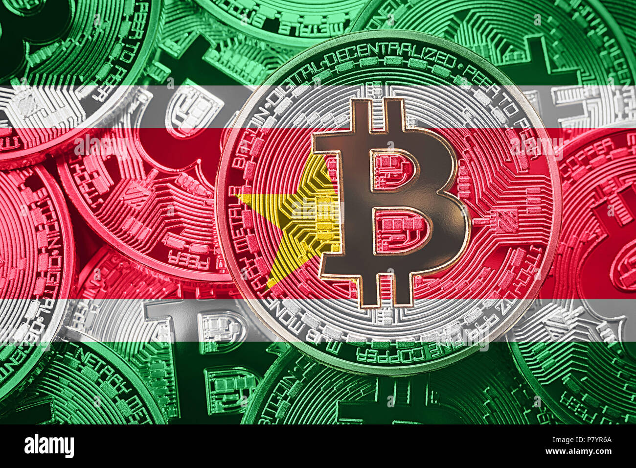 Stack of Bitcoin Suriname flag. Bitcoin cryptocurrencies concept. BTC background. - Stock Image