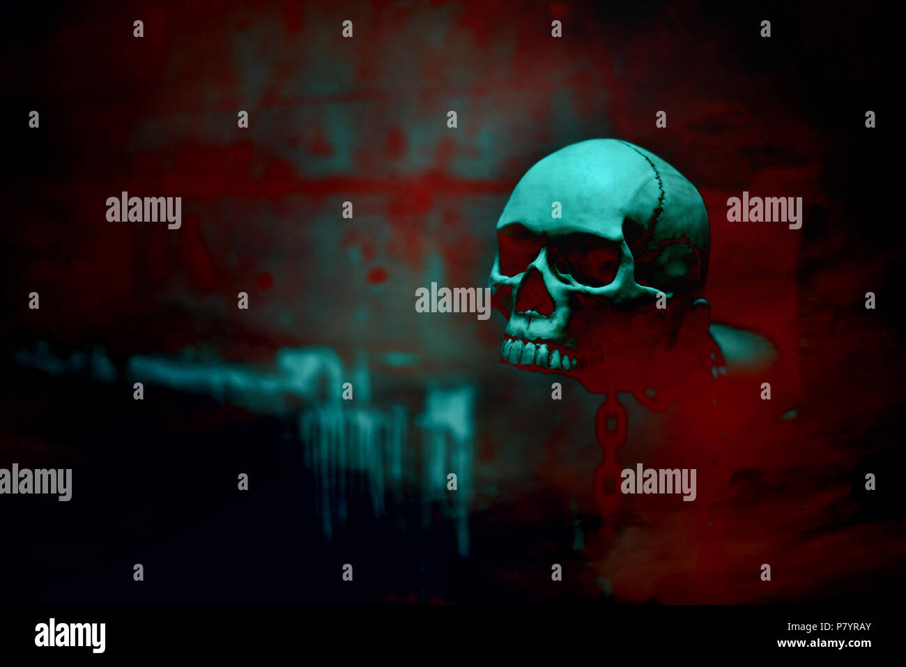 Skull skeleton with chain in red blood background, Halloween's day