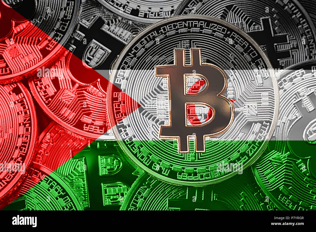 Stack of Bitcoin Western Sahara flag. Bitcoin cryptocurrencies concept. BTC background. - Stock Image