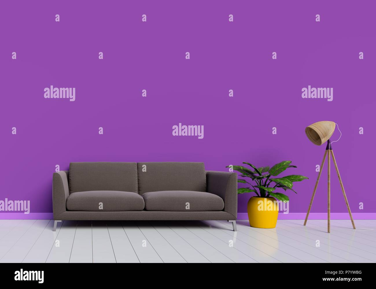 Modern interior design of purple living room with brown sofa ...