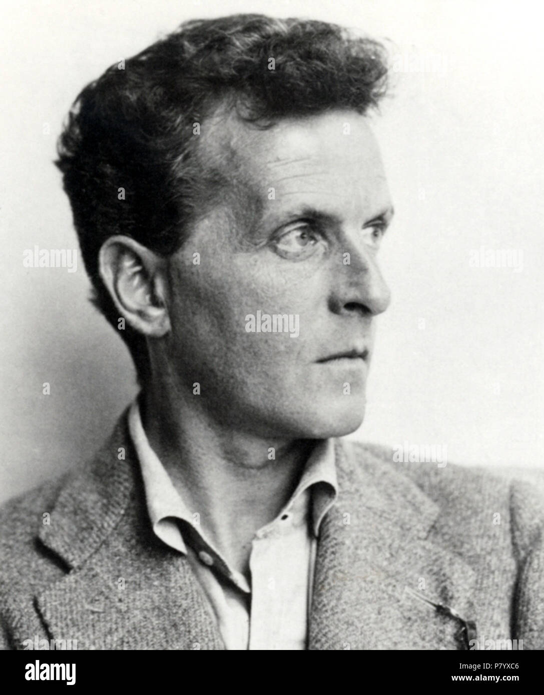 Deutsch: Ludwig Wittgenstein (1899–1951). Österreichische Nationalbibliothek, Inventarnummer Pf 42.805: C (1) English: Ludwig Wittgenstein (1899–1951). Austrian National Library, Accession number Pf 42.805: C (1) . 1930 252 Ludwig Wittgenstein (cropped) - Stock Image