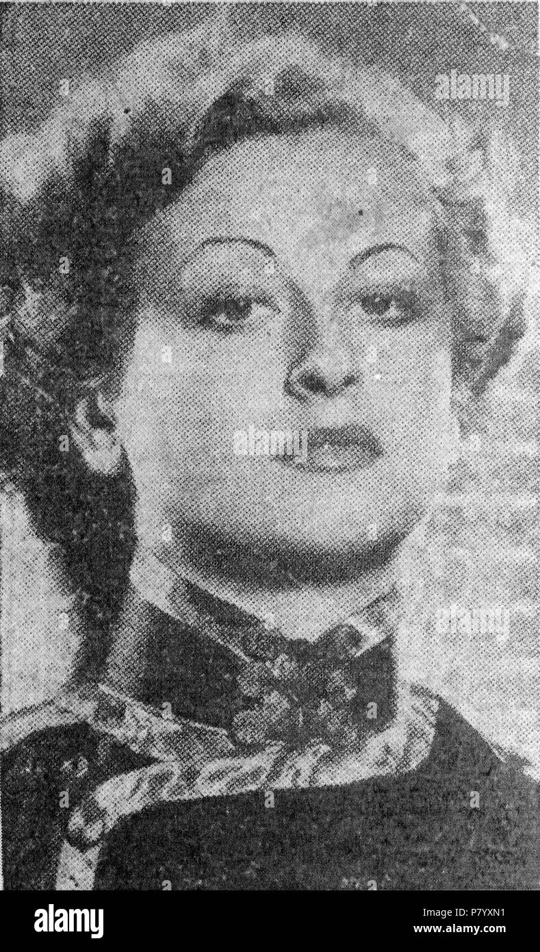 Newspaper image of Lydia Cecilia Hill (1913-1940) in an article dated 1937. The article reports a burglary which occurred at her home in Herne Bay, Kent, England in 1937. She was a favourite of the Sultan of Johore from 1934-1940, and was previously a dancer. 1937 253 Lydia Cecilia Hill 1937 - Stock Image
