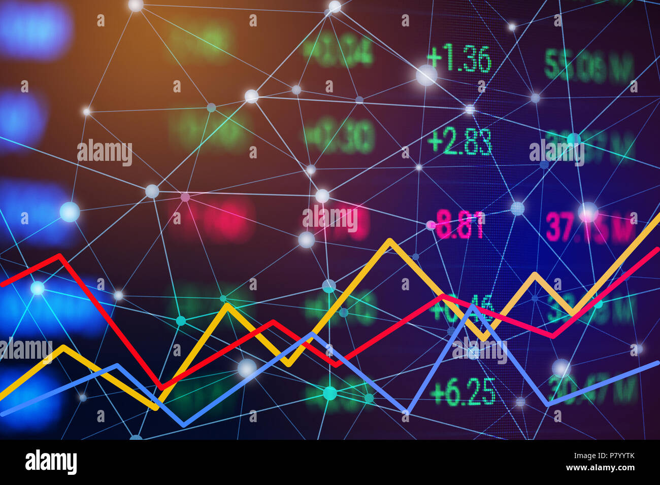 Stock market chart with line graph. Trend chart of bullish and bearish. Financial and Business Investment trading concept. Money currency and cryptocu - Stock Image