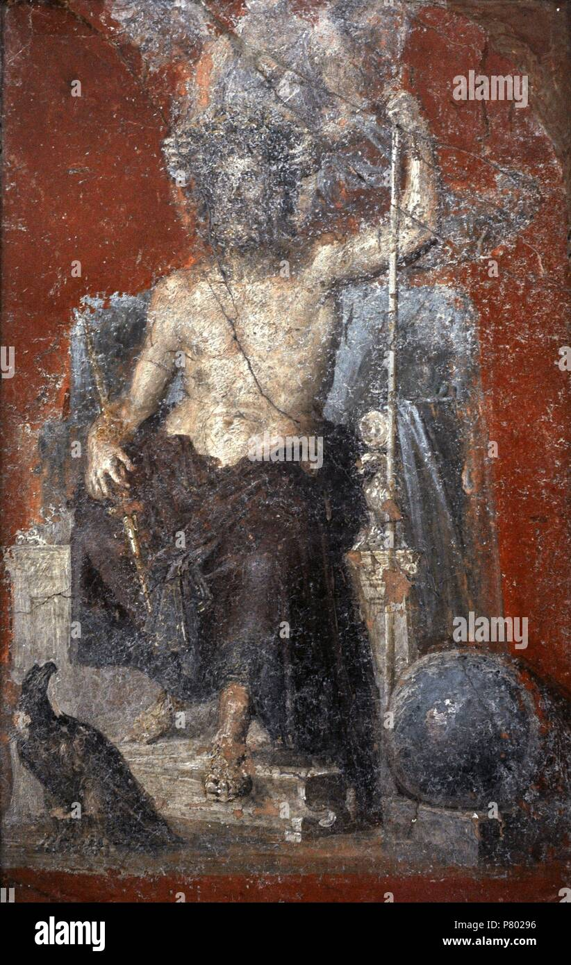 The powerfull and solemn figure of enthroned Zeus, crowned by a Victory and flanked by the cosmic symbols of the eagle and the globe. Pompeii. 1st century. National Archaeological Museum, Naples. Italy. - Stock Image