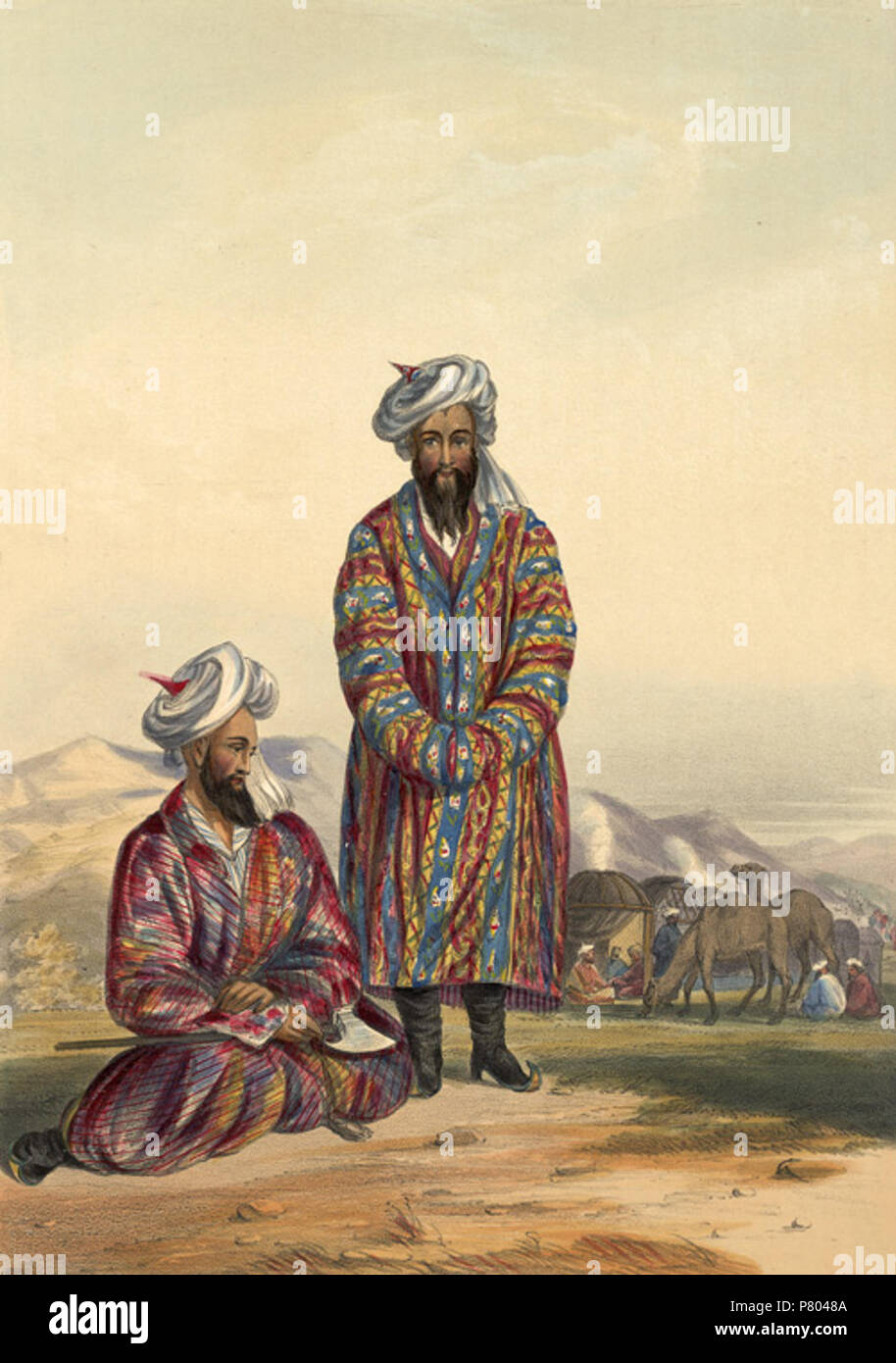 Oosbegs of Mooraud Bev This lithograph was taken from plate 20 of 'Afghaunistan' by Lietenant James Rattray. Rattray was introduced to the subjects of this sketch, Mirza Abdulhuq and Rustom Beg, at a conference in the fort of Lughmani in Kohistan in August 1841. They were part of the powerful Uzbeg tribe of Qataghan in Turkestan, whose chief, Murad Beg, was the Mir of Kunduz. His dominion lay north of the Hindu Kush and south of the River Amu, between Bukhara and Kabul. Their national headdress of these Turcomen was made of white muslin, wound around a high pointed skullcap of coloured silk an - Stock Image