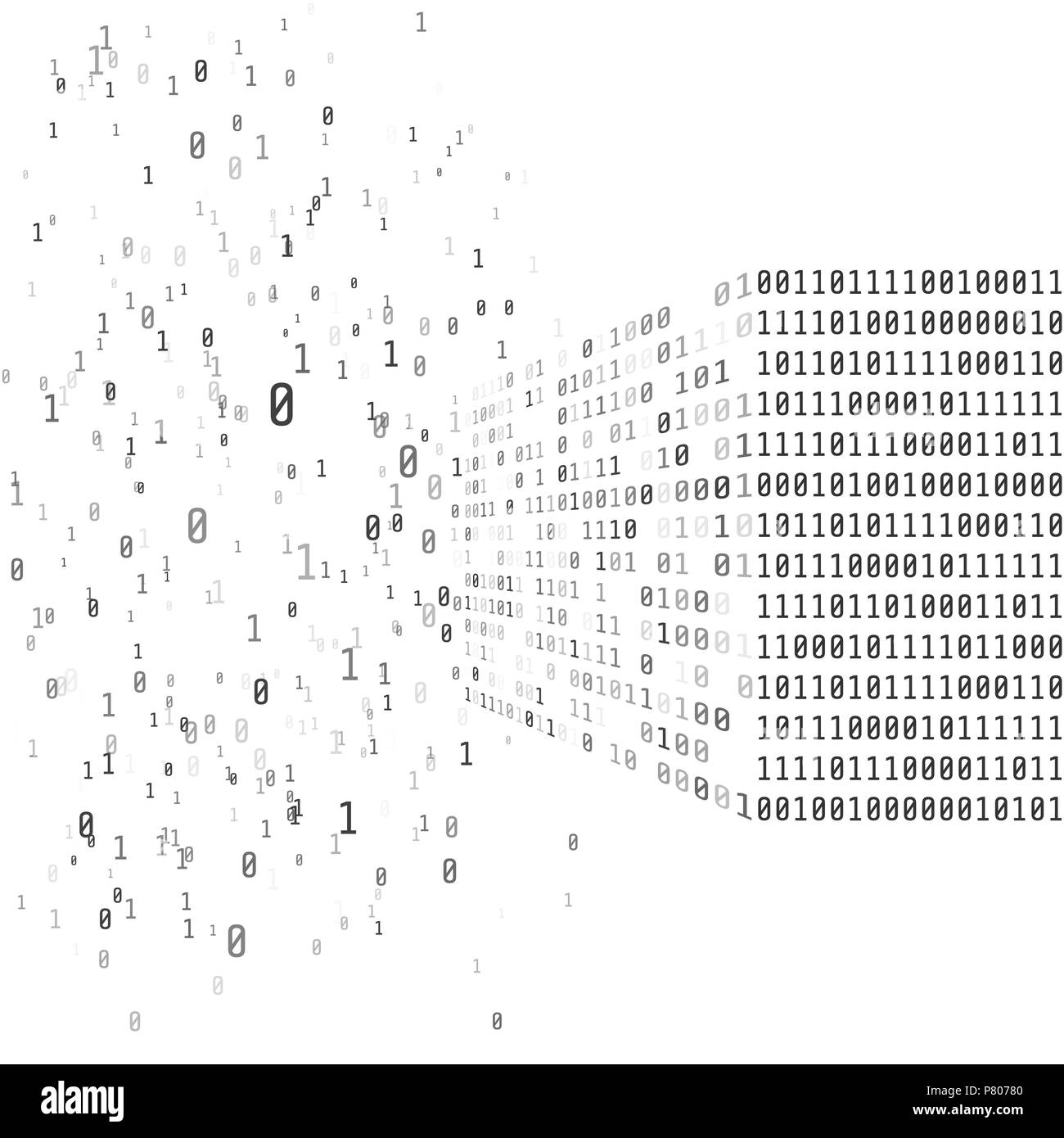 Big data concept. Binary matrix code. Artificial intelligence smart system. Process of sorting data from chaos into an ordered system. Search decision - Stock Vector