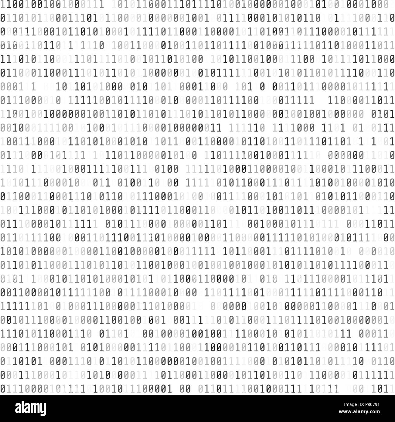 Binary Computer Code. Digital Data Stream. Abstract Matrix Background. Cyber security. Hacker concept. Vector Illustration - Stock Image