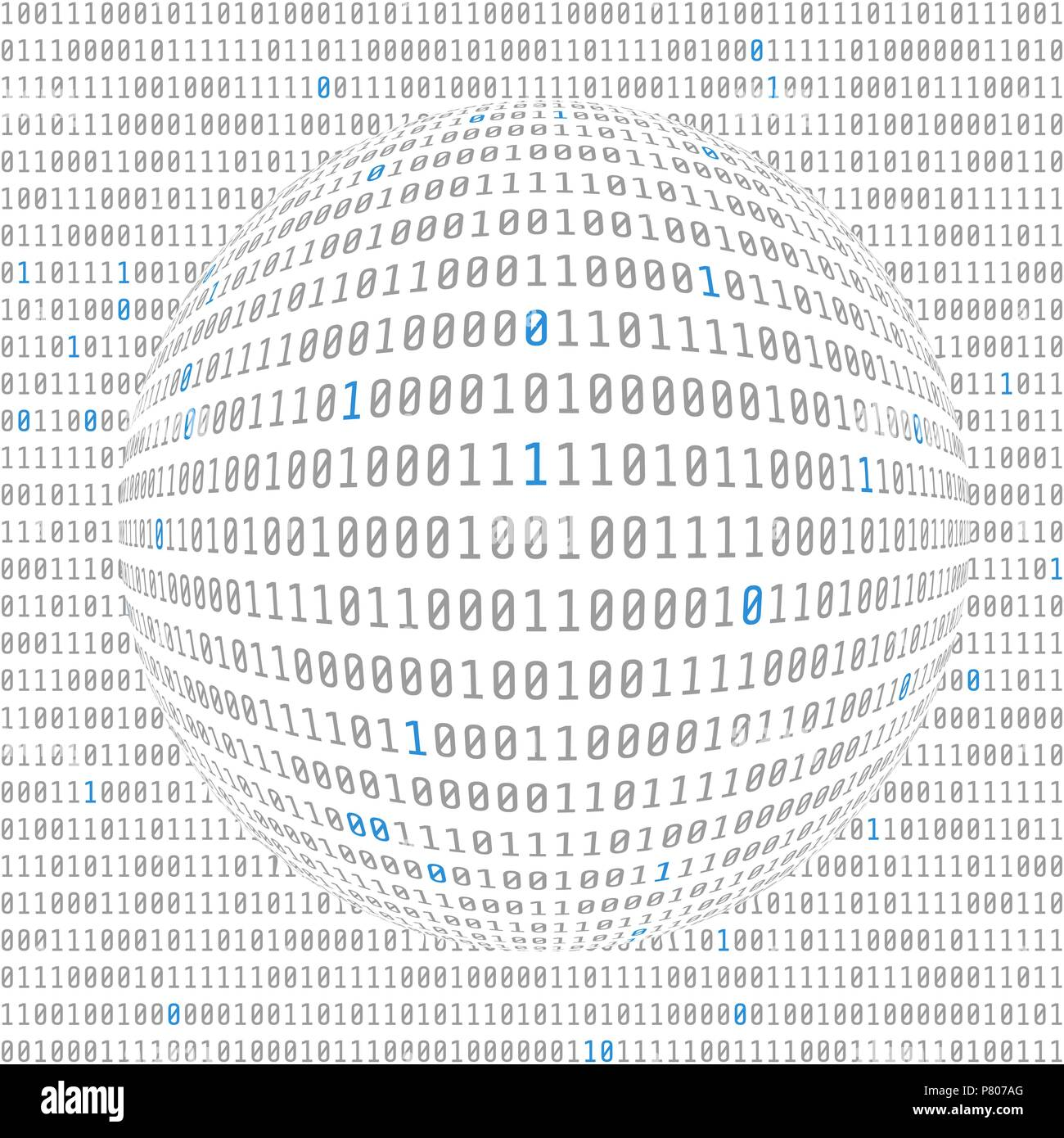 Binary data view. cybersecurity. binary code concave hemisphere with allocated key bits. vector - Stock Vector