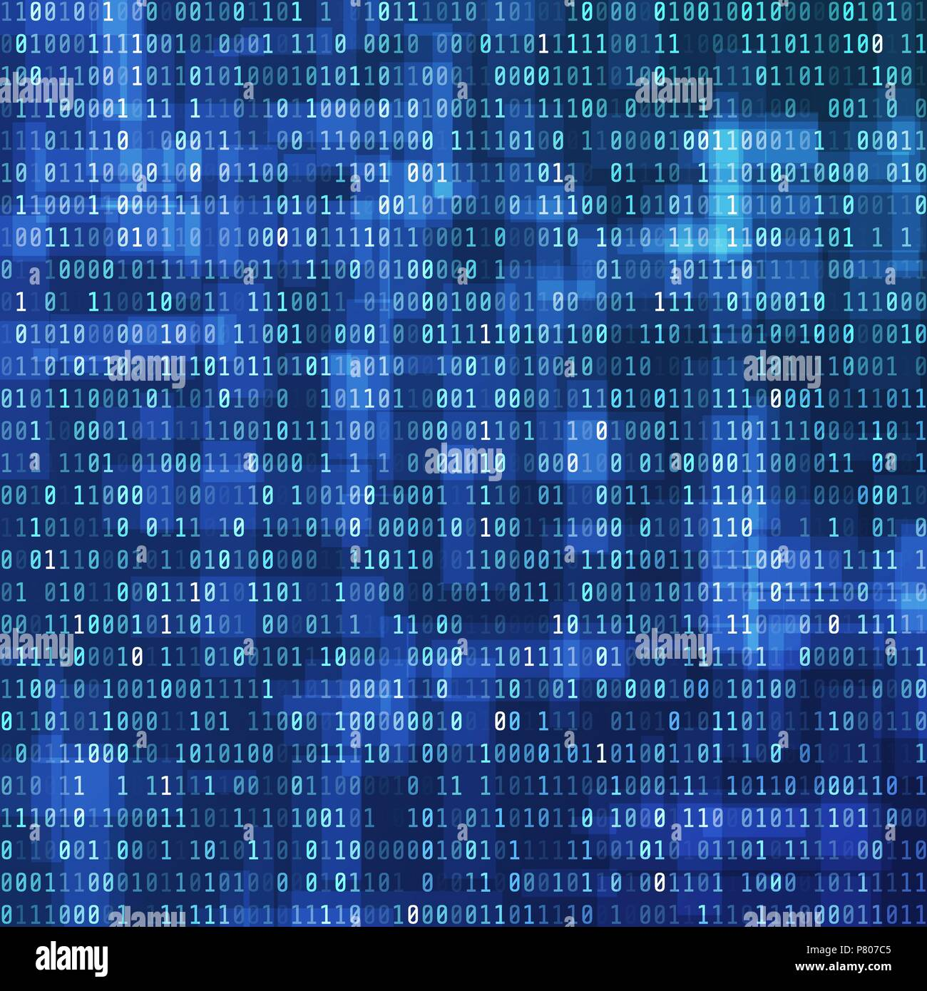 Binary computer code. Digital data view. Technology background design. Binary Data Stream. Vector illustration - Stock Image