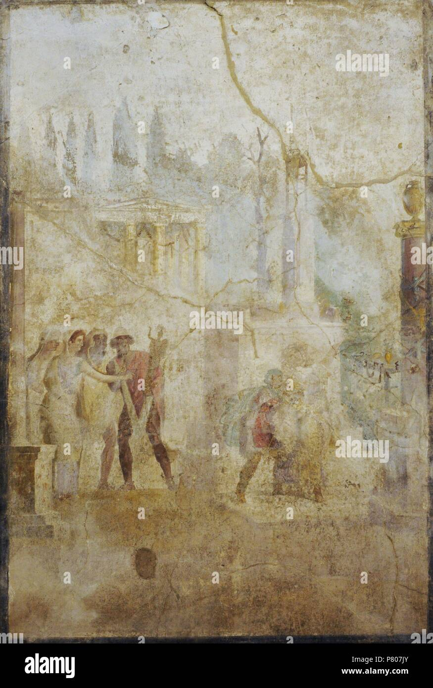 ce10651ca76 Roman fresco depicting Ulysses carrying the Palladium (statue of Athena)  that he has stolen from the temple. 1st century AD. Triclinium.