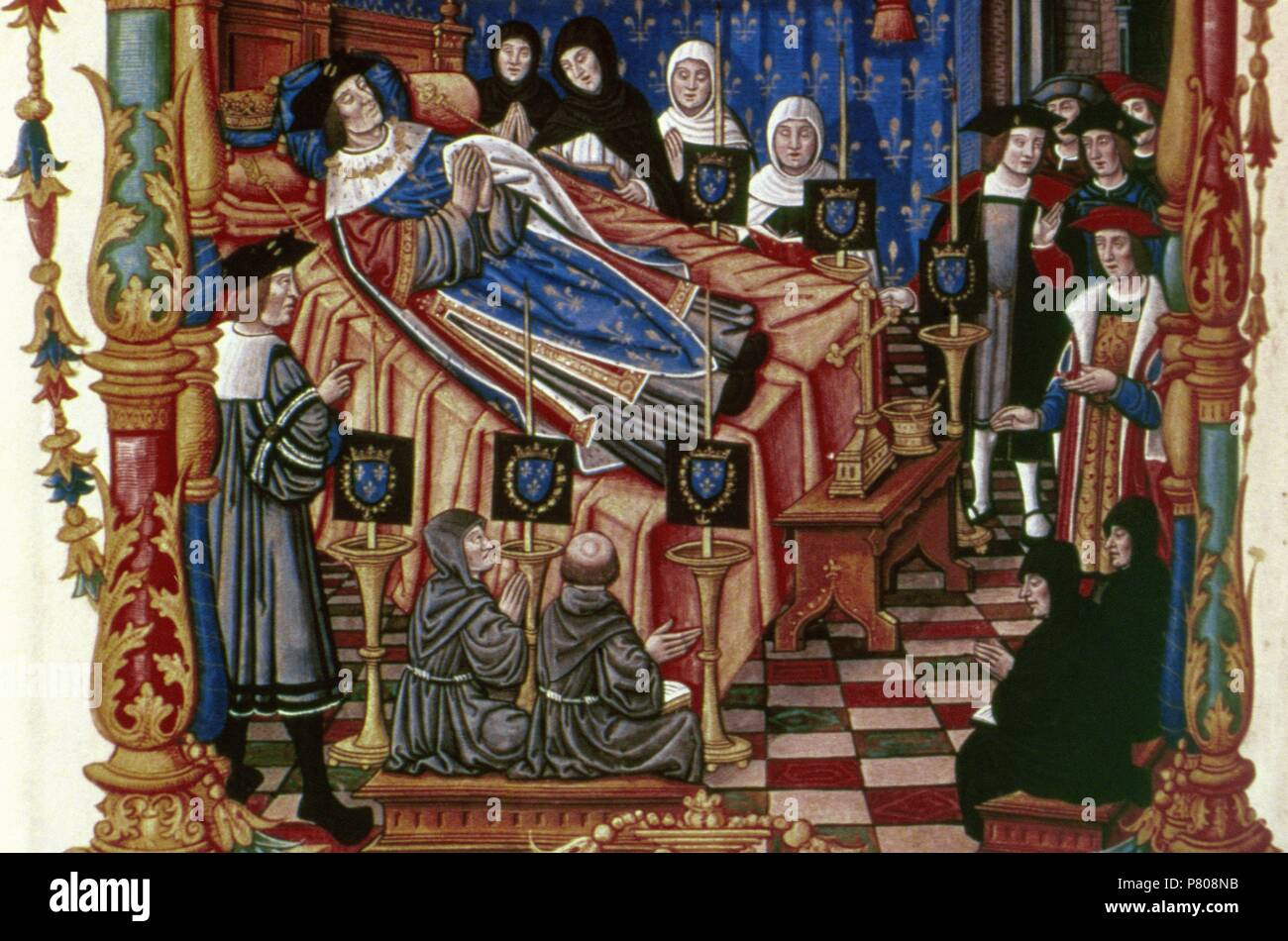 Louis XI of France (1423-1483). Monarch of House of Valois. King of France,  1461-83. Miniature. The Death of Louis XI at his castle, Plessis-les-Tours,  ...
