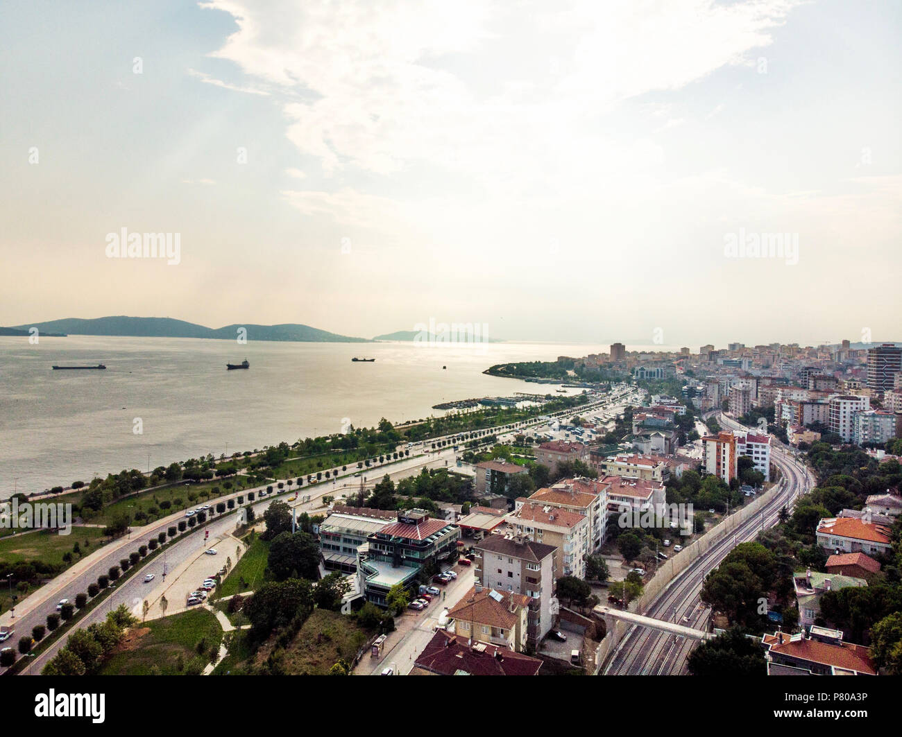 Aerial Drone View Of Kartal Istanbul City Seaside City Life Near