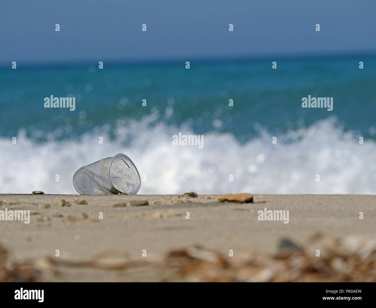 discarded transparent plastic cup on the beach shows the pollution of the seas by plastic garbage - Stock Image