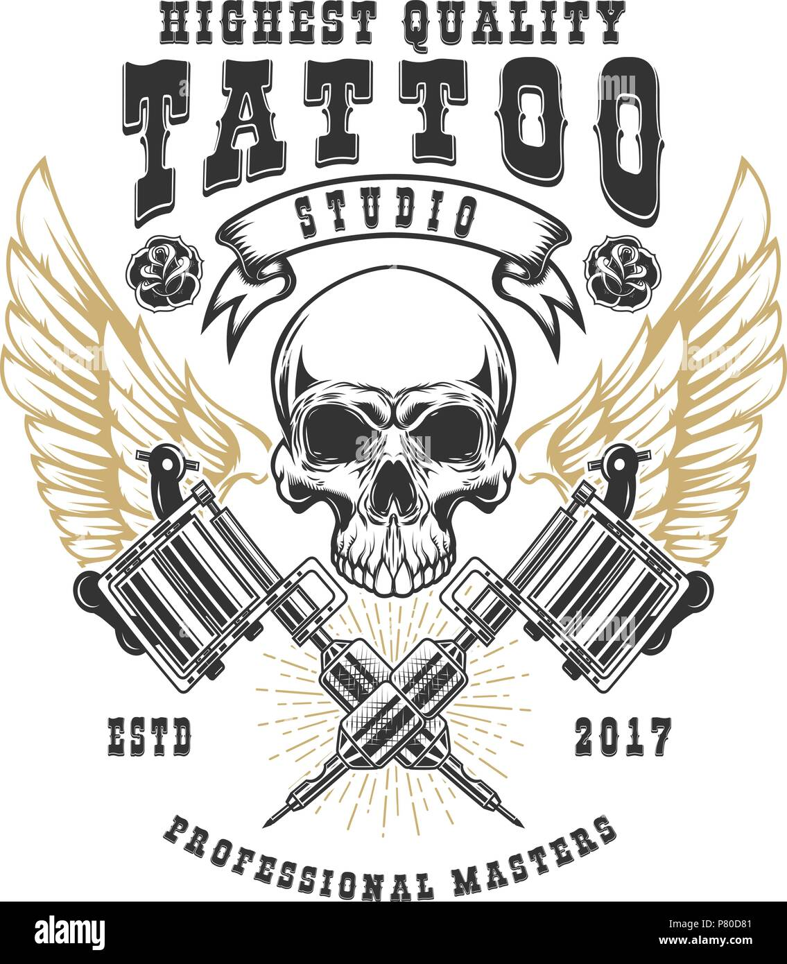 Tattoo Studio Poster Template Winged Skull With Crossed Tattoo