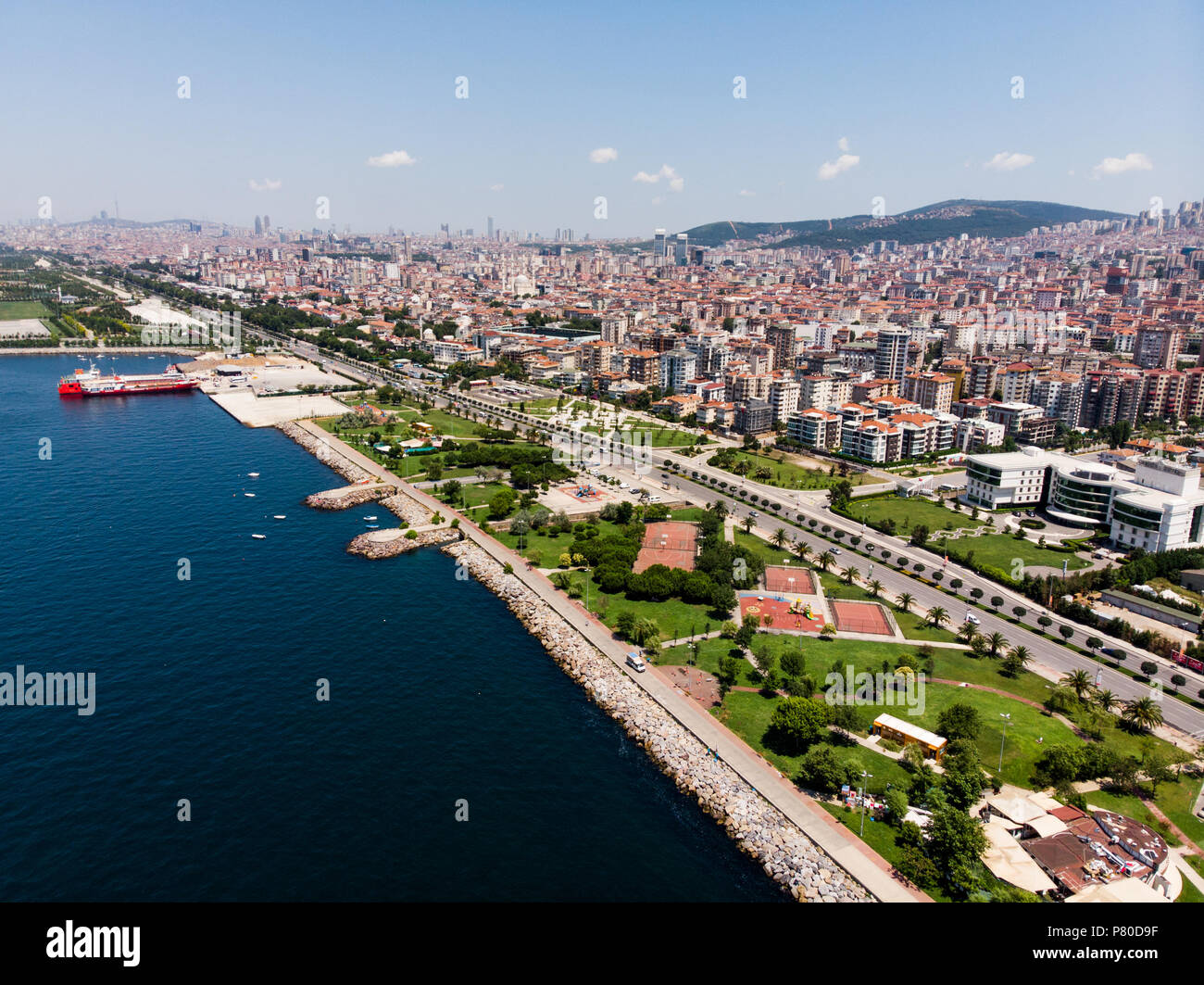 Aerial Drone View Of Kartal Istanbul City Seaside Cityscape Stock