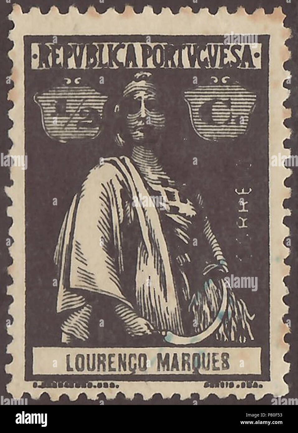 Stamp of Lourenço Marques (Portuguese Mozambique); 1914; definitive stamp of the issue 'Ceres - colonial issues'; stamp postmarked Stamp: Michel: No. 118; Yvert et Tellier: No. 118 Color: black / black on 'reaper-coated' paper (Note: In the anglophone literature is sometime used the term 'reaper-coated' as description for the paper of these stamps without to amplify this. Probably, it's about an early process of paper coating by using of polymeric carbohydrate on basis of starch obtained from staple-food plants ('reaper plants').) Watermark: none Nominal value: ½ C. (Centavo) Postage validity: - Stock Image