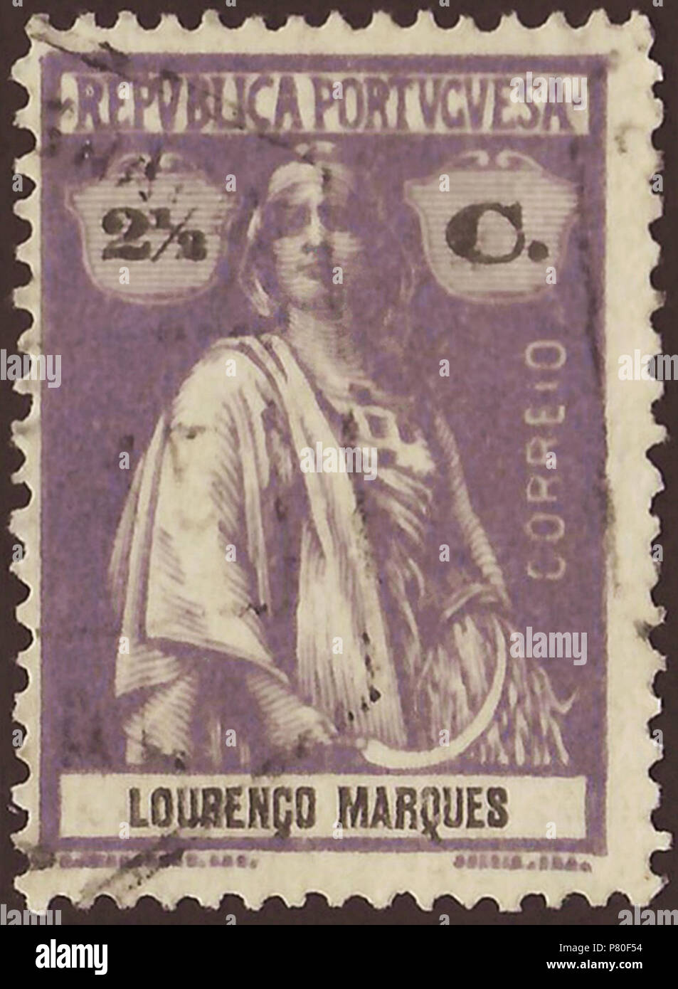 Stamp of Lourenço Marques (Portuguese Mozambique); 1914; definitive stamp of the issue 'Ceres - colonial issues'; stamp postmarked Stamp: Michel: No. 122; Yvert et Tellier: No. 122 Color: greyish lilac / black on 'reaper-coated' paper (Note: In the anglophone literature is sometime used the term 'reaper-coated' as description for the paper of these stamps without to amplify this. Probably, it's about an early process of paper coating by using of polymeric carbohydrate on basis of starch obtained from staple-food plants ('reaper plants').) Watermark: none Nominal value: 2½ C. (Centavos) Postage - Stock Image