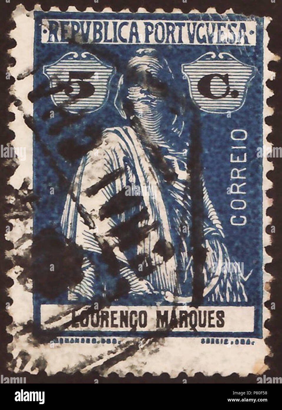 Stamp of Lourenço Marques (Portuguese Mozambique); 1914; definitive stamp of the issue 'Ceres - colonial issues'; stamp postmarked Stamp: Michel: No. 123; Yvert et Tellier: No. 123 Color: blue / black on 'reaper-coated' paper (Note: In the anglophone literature is sometime used the term 'reaper-coated' as description for the paper of these stamps without to amplify this. Probably, it's about an early process of paper coating by using of polymeric carbohydrate on basis of starch obtained from staple-food plants ('reaper plants').) Watermark: none Nominal value: 5 C. (Centavos) Postage validity: - Stock Image