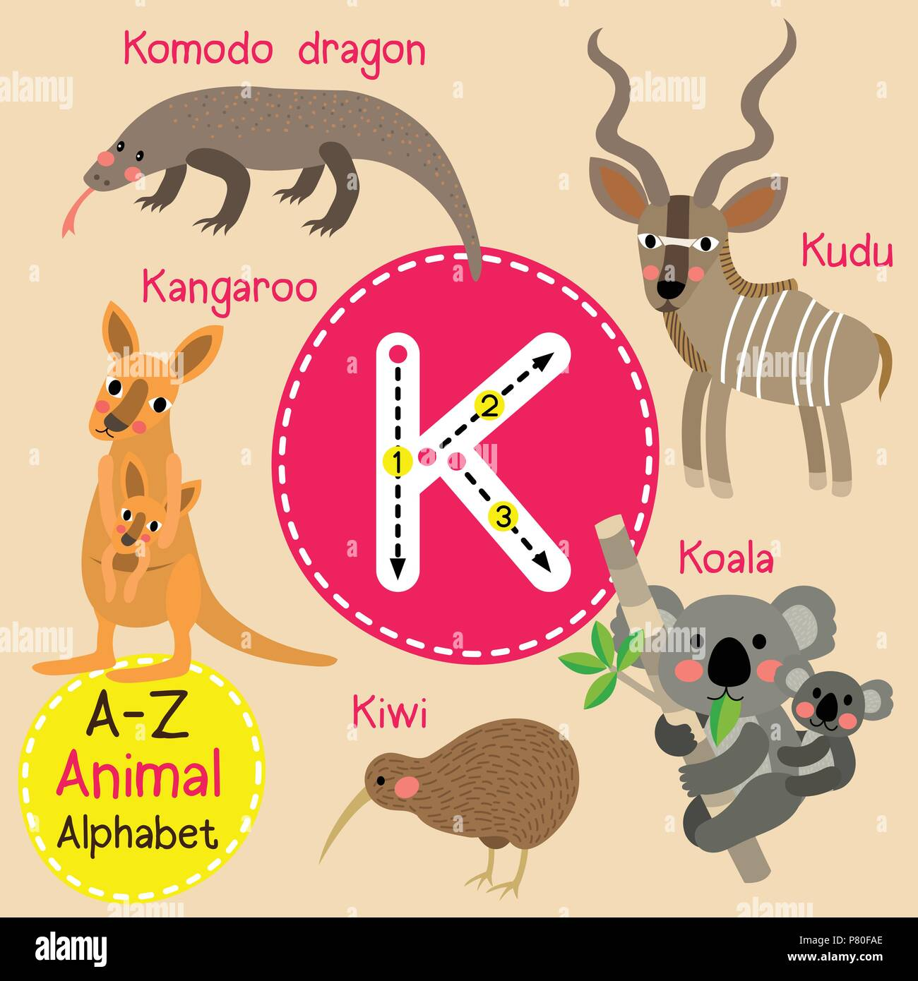 Cute Children Zoo Alphabet K Letter Tracing Of Funny Animal Cartoon