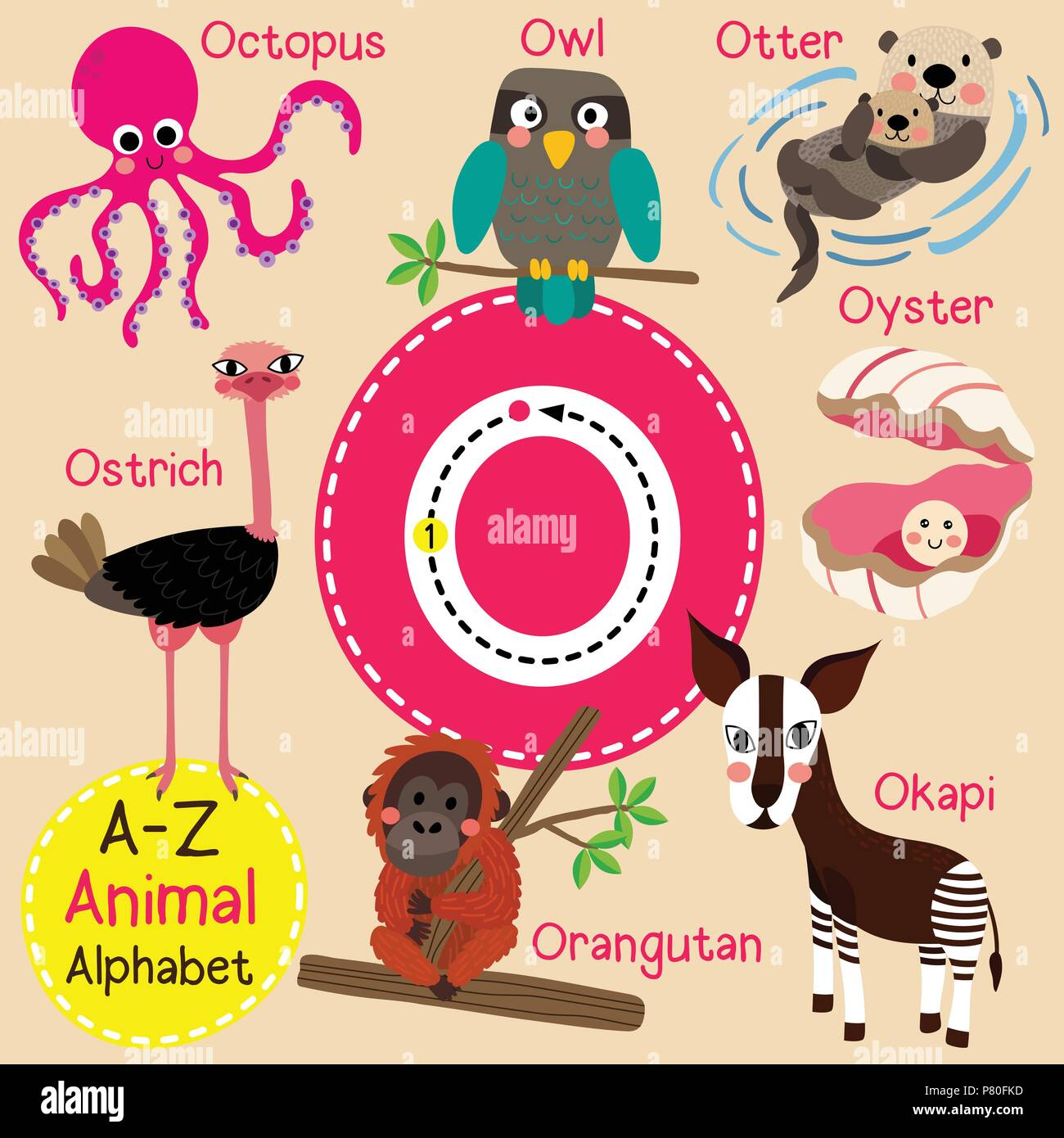 Cute Children Zoo Alphabet O Letter Tracing Of Funny Animal Cartoon