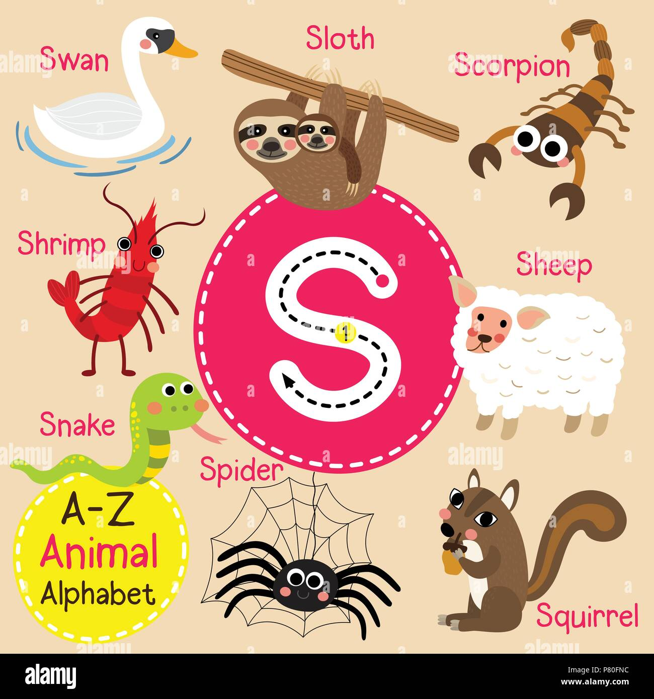 Cute children zoo alphabet S letter tracing of funny animal cartoon for kids learning English vocabulary Stock Vector