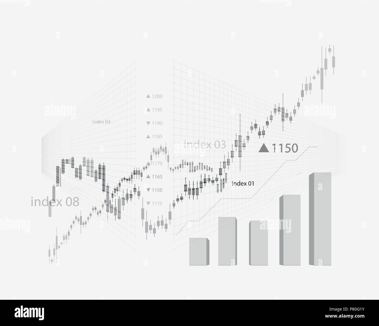 The schedule for changing the stock market graph in a positive direction. The investment economy and the development of new financial tools for trade online. Vector - Stock Vector
