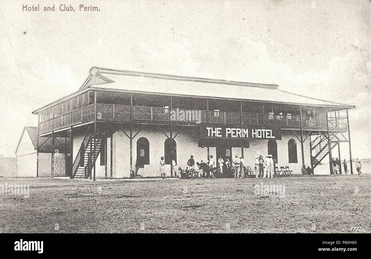 English: The Perim Hotel, the only hotel Perim ever had during the