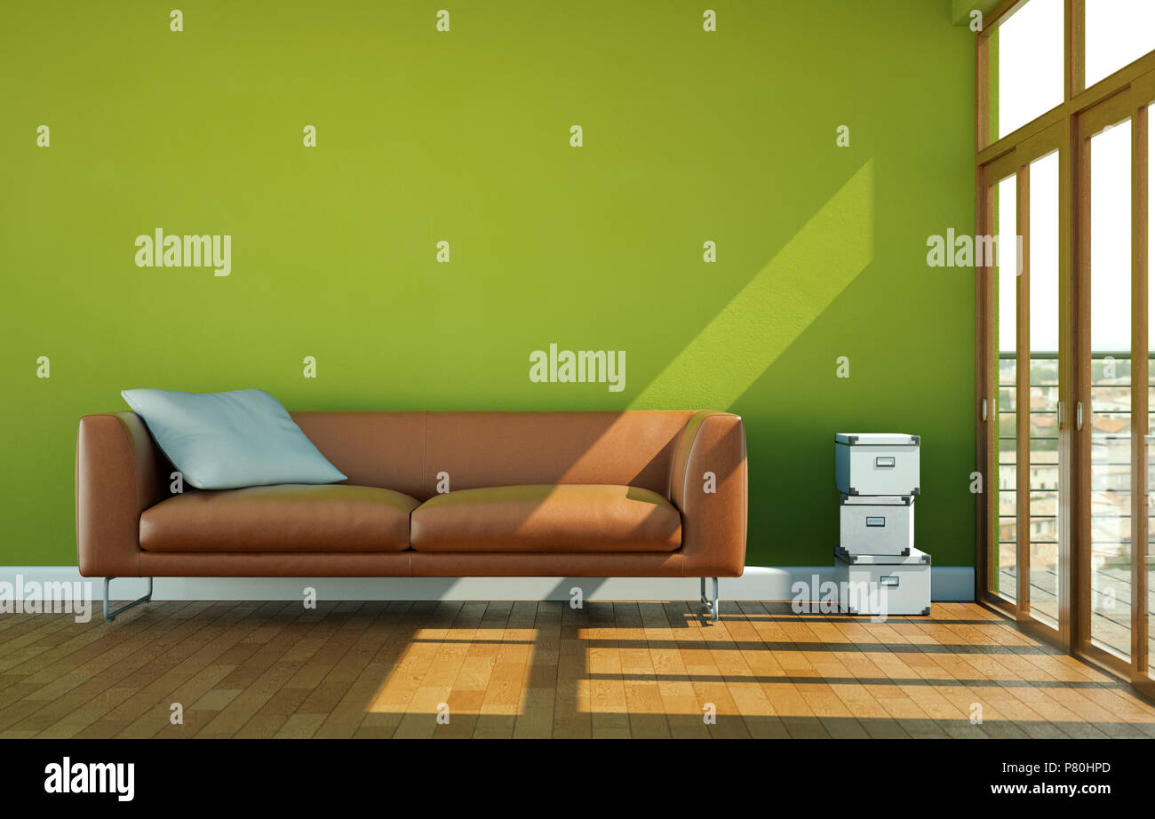 Interior Design Bright Room With Brown Leather Sofa Stock Photo Alamy