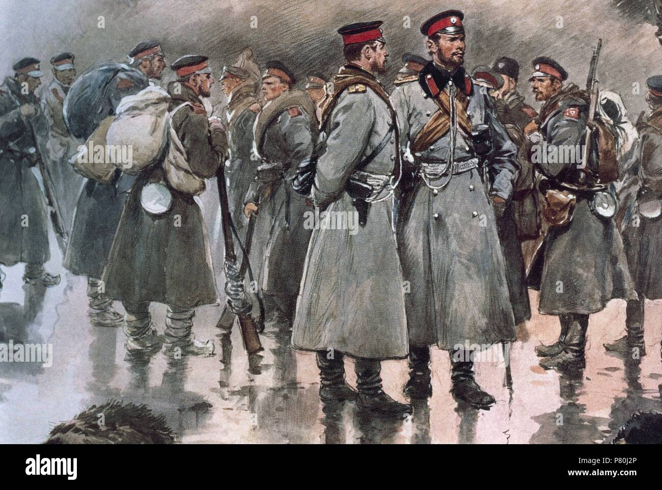 First Balkan War (1912-1913). The Bulgarian Army in Thrace. Field infantry, officers and soldiers. Drawing by George Scott, 1912. - Stock Image