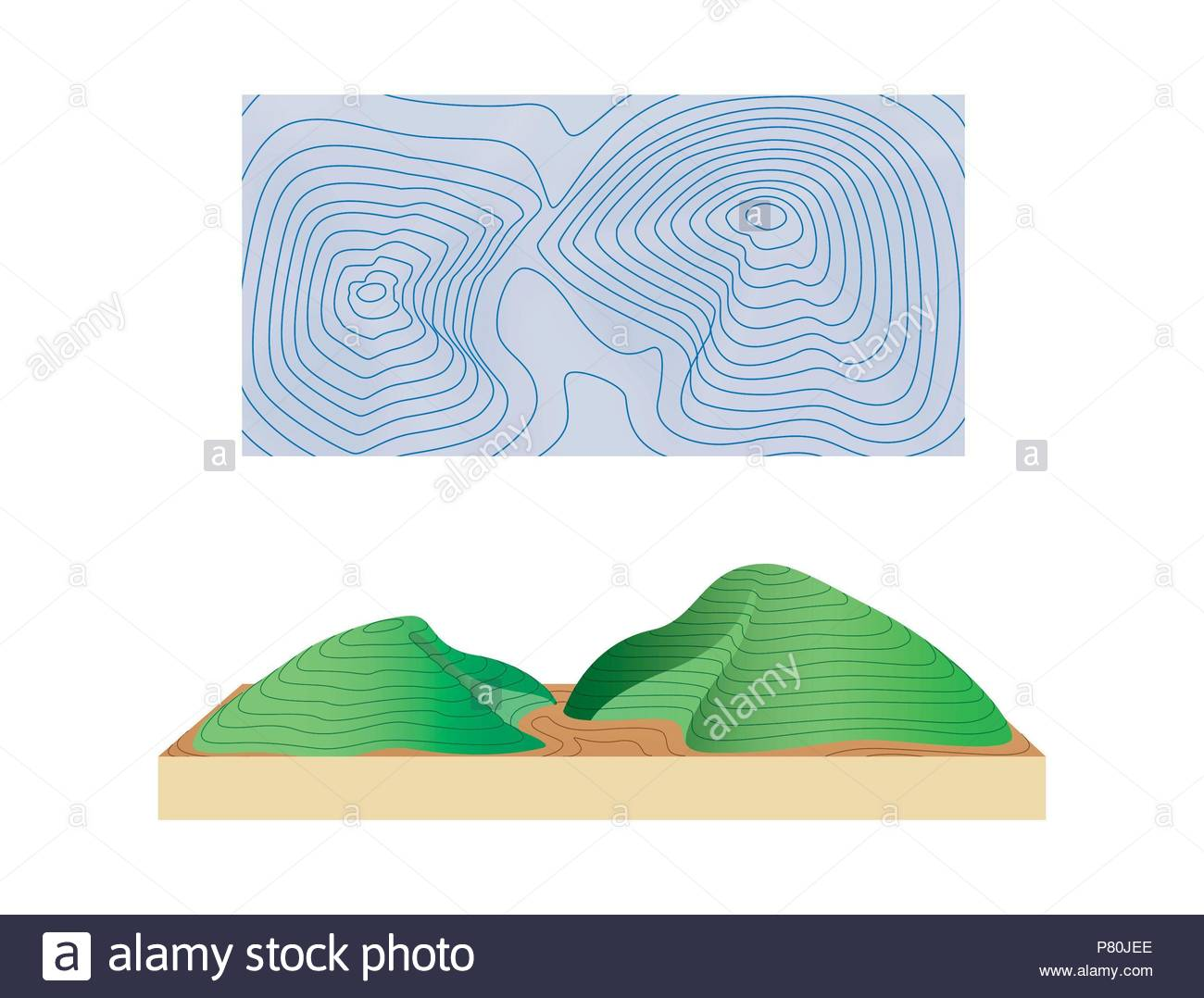 Relief Representation On A Topographic Map Stock Photo 211456182
