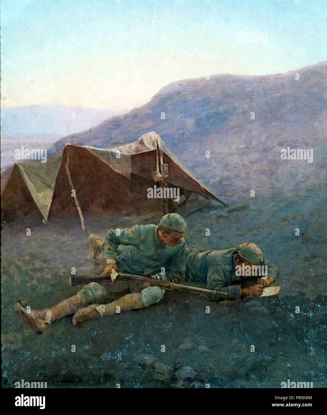 English: Resting in battlefront . 1921 321 PROKOPIOU-ANAPAYSI - Stock Image