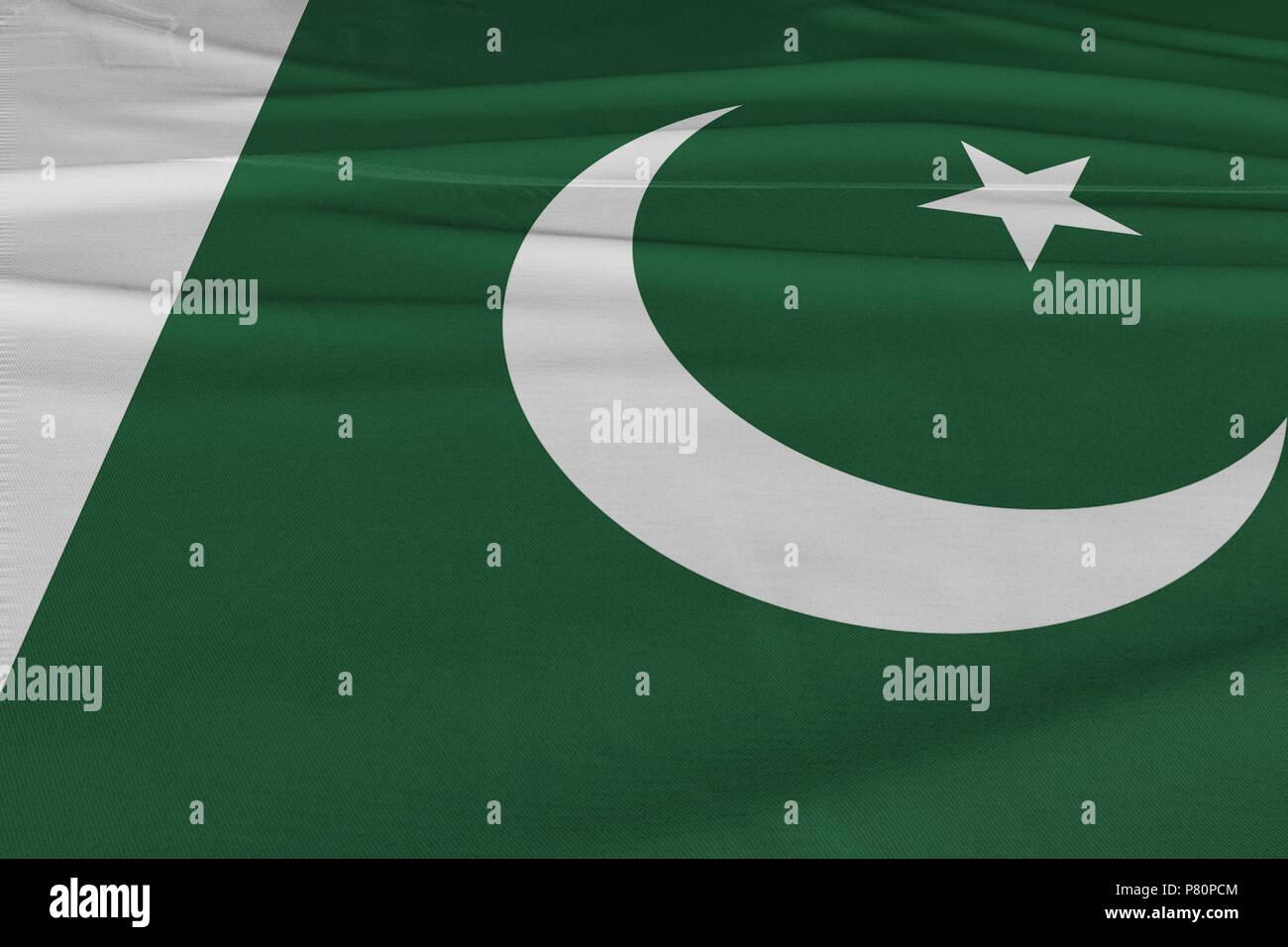 64598ade1a Isolated Pakistani Flag waving 3d Realistic Pakistani fabric - Stock Image