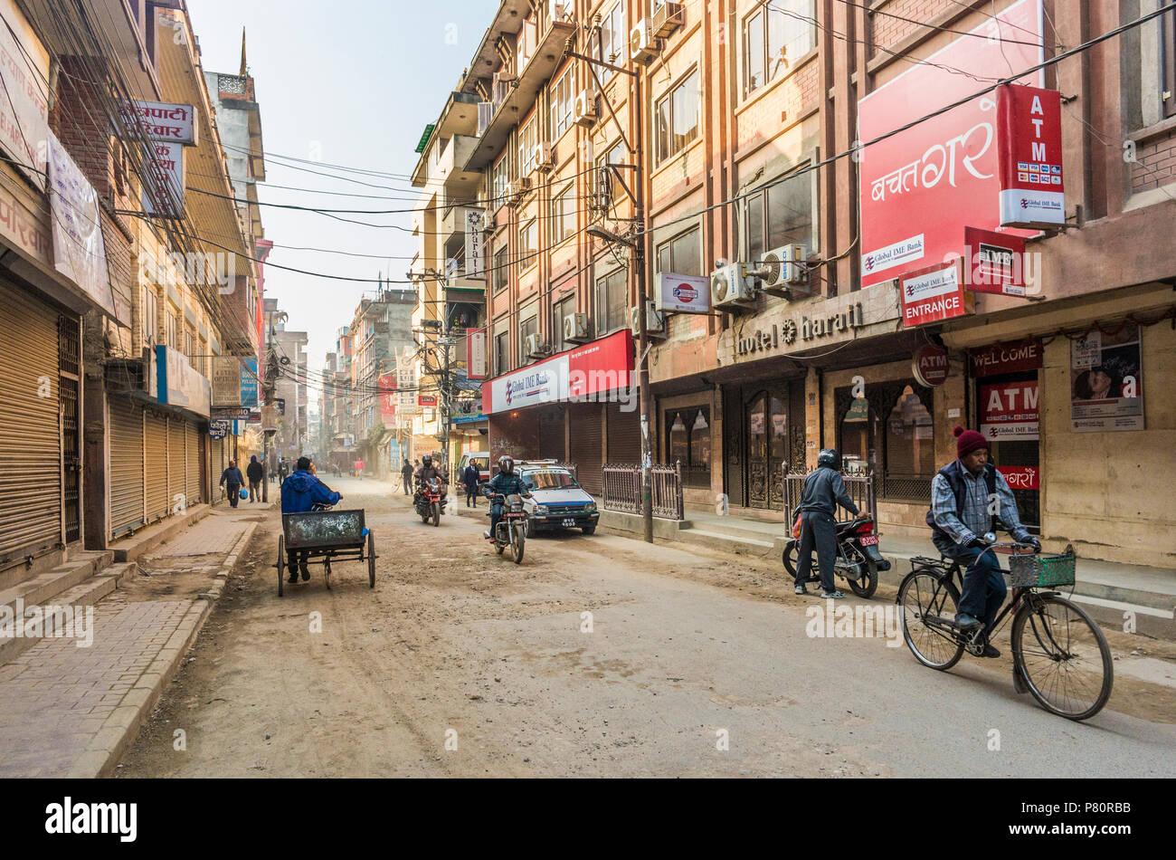 Looking south along Gangalal Marg, Kathmandu, Kathmandu Valley, Nepal, early morning. - Stock Image