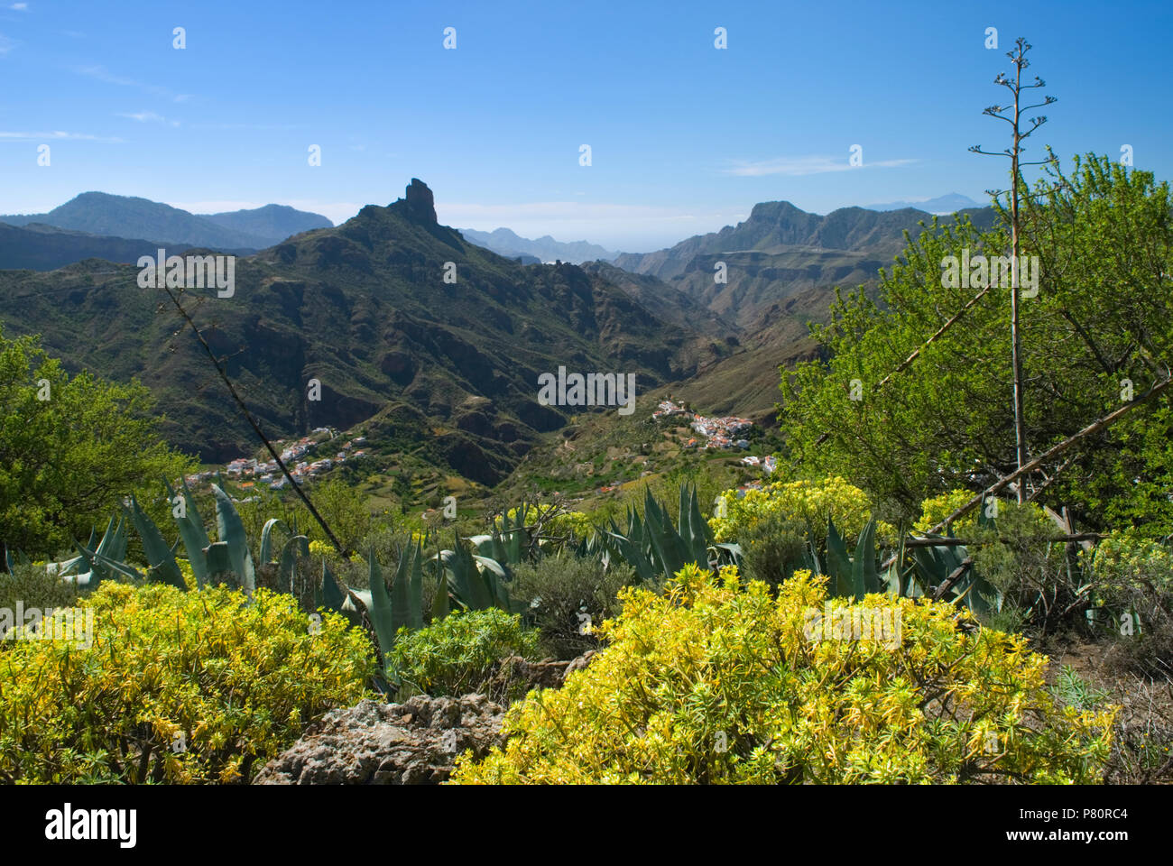 View over Tejeda and Roque Bentayga - Stock Image