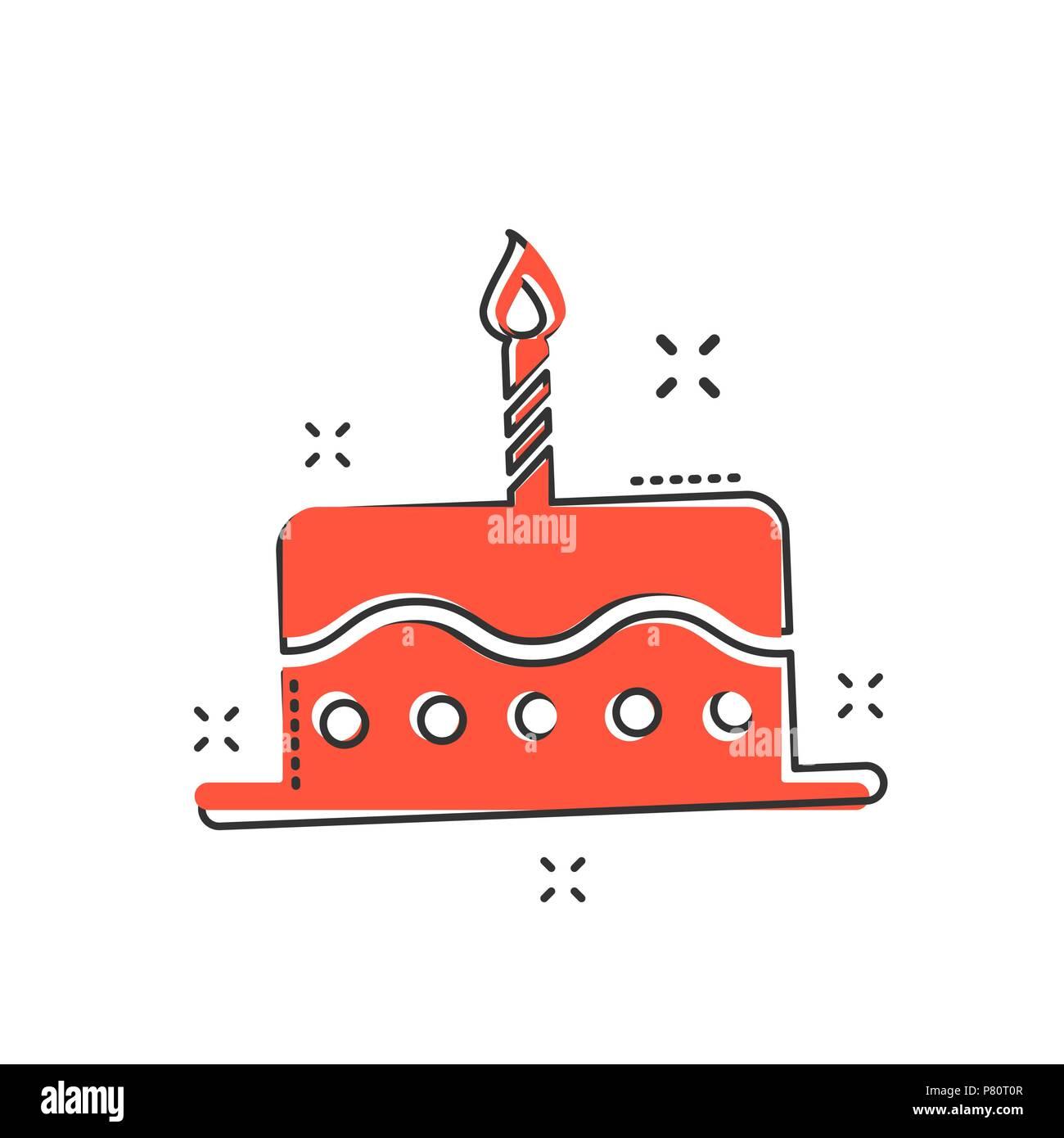 Swell Cartoon Birthday Cake Icon In Comic Style Fresh Pie Muffin Sign Funny Birthday Cards Online Kookostrdamsfinfo