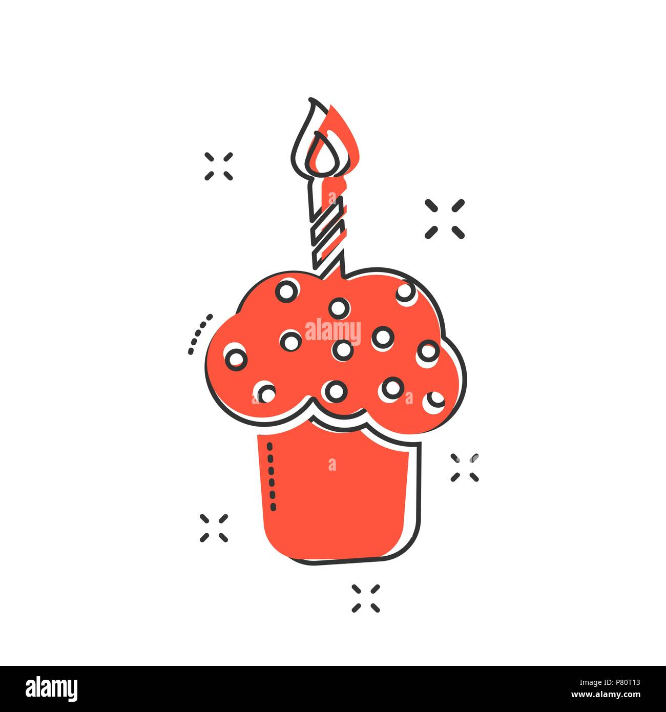 Cartoon Birthday Cake Icon In Comic Style Fresh Pie Muffin Sign