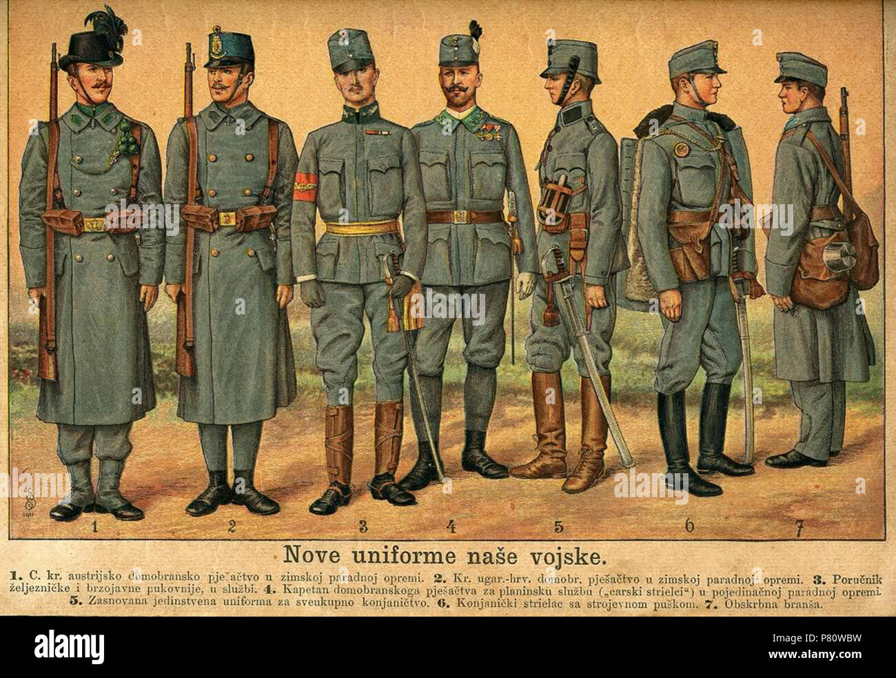 English: uniforms of Austro-Hungarian Army . 8 July 2011, 11:27:37 29 Austro-ugarske odore - Stock Image