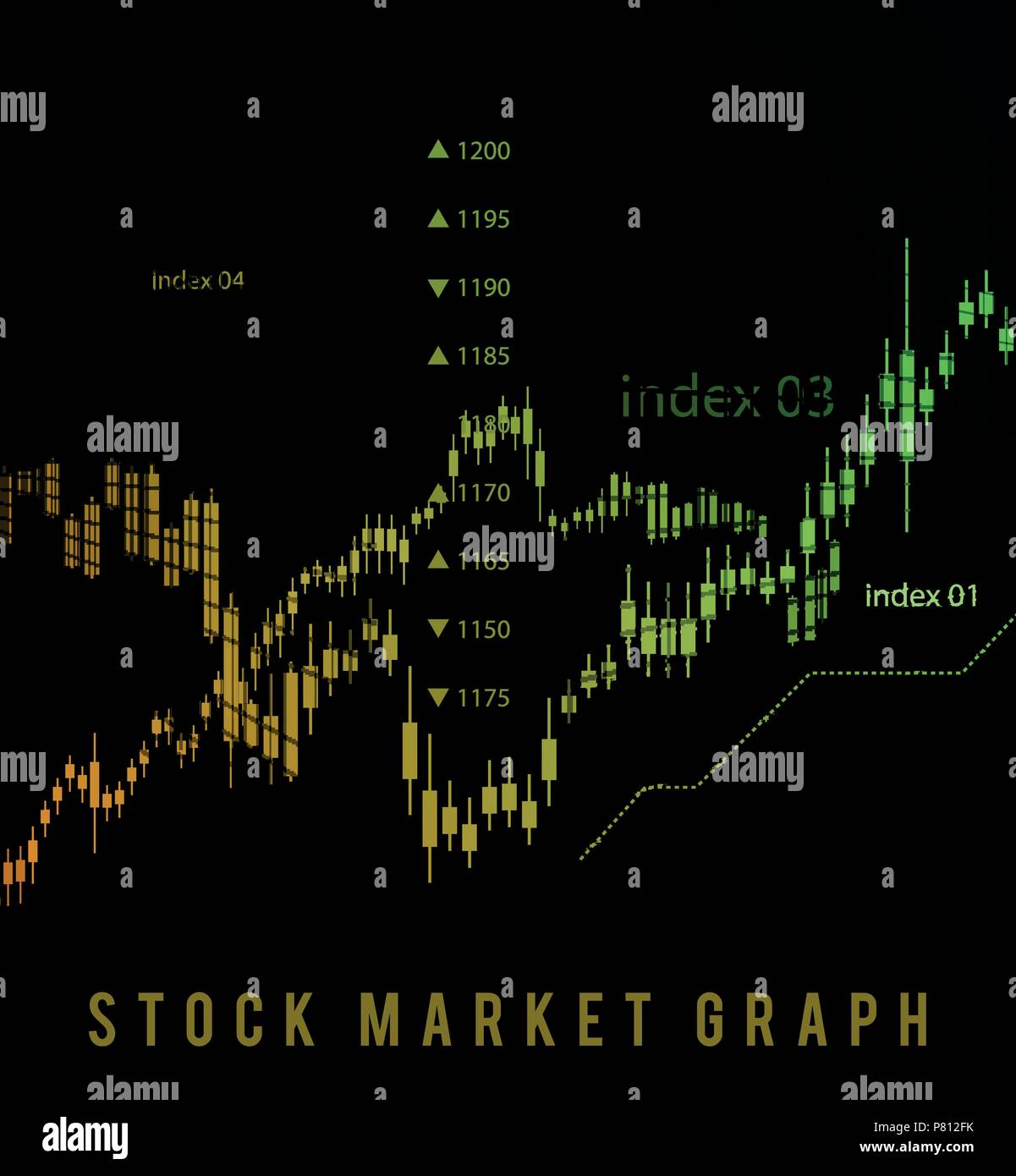 The schedule for changing the stock market graph in a positive direction. The investment economy and the development of new financial tools for trade  Stock Vector
