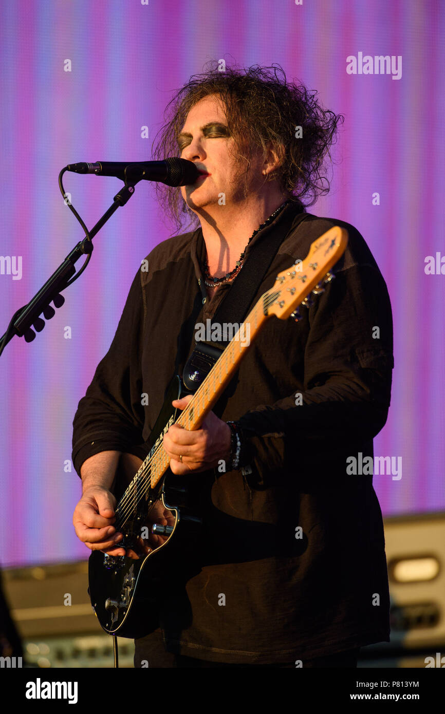 Robert Smith of The Cure performing at the British Summer
