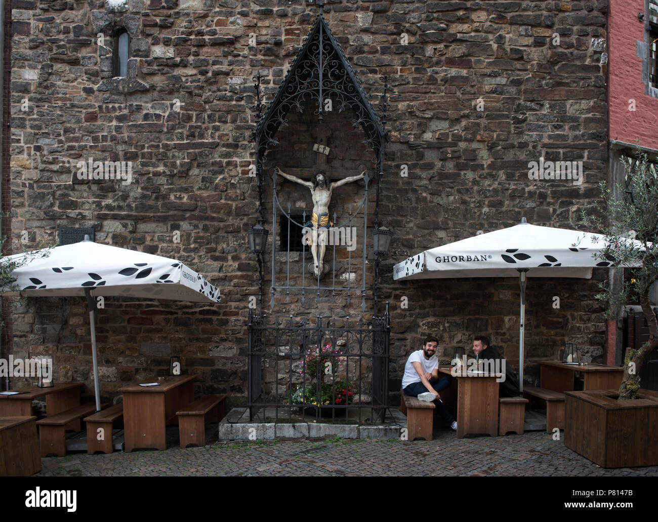 Aachen Germany June 2018 Aachen  or Bad Aachen, French and traditional English: Aix-la-Chapelle , is a spa and border city[2] in North Rhine-Westphali - Stock Image