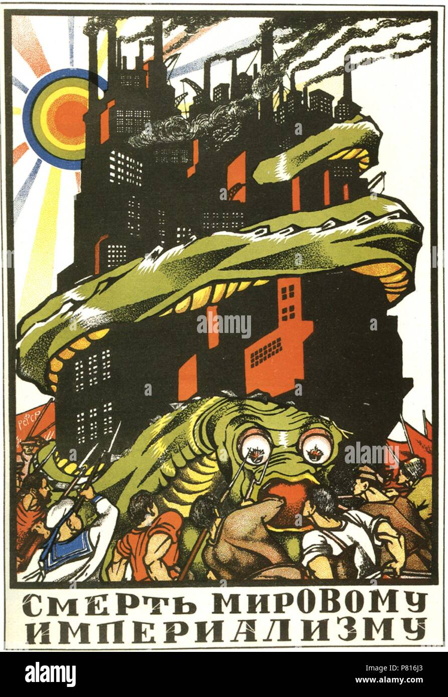 Death to world imperialism (Poster). Museum: Russian State Library, Moscow. - Stock Image